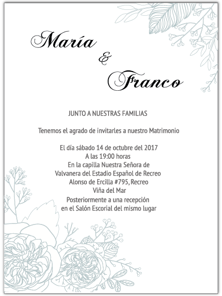 Invitación de Matrimonio Simple